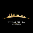 Philadelphia Pennsylvania city skyline silhouette black backgrou