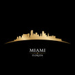 Miami Florida city skyline silhouette black background