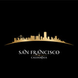 San Francisco California city skyline silhouette black backgroun