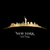 New York city skyline silhouette black background