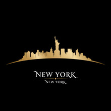 Papier Peint - New York city skyline silhouette black background