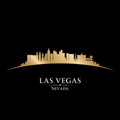 Las Vegas Nevada city skyline silhouette black background