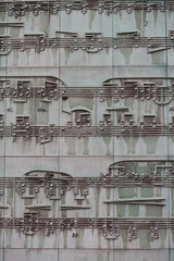 Musical sheet on a facade of a building