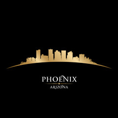 Phoenix Arizona city skyline silhouette black background