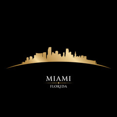 Miami Florida city skyline silhouette black background