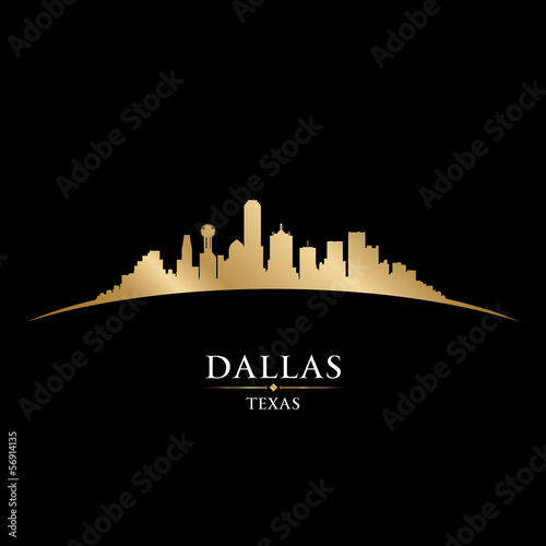Dallas Texas city skyline silhouette black background