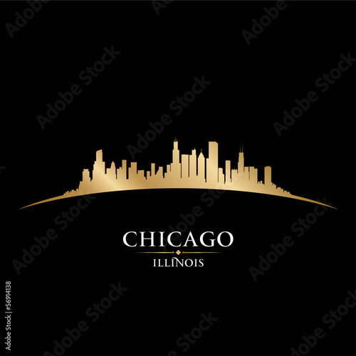 Chicago Illinois city skyline silhouette black background