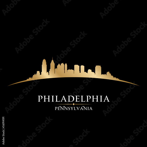 Philadelphia Pennsylvania city skyline silhouette black backgrou