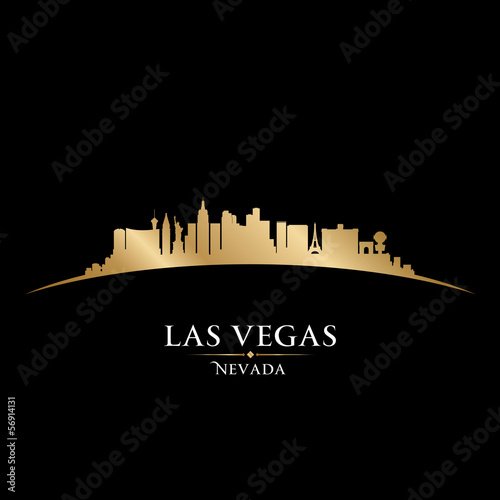 Poster Las Vegas Nevada city skyline silhouette black background