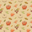 Autumn watercolor seamless pattern
