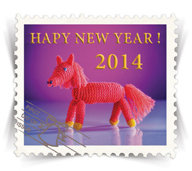 Label for ads or new year greeting cards stylized as post stamp