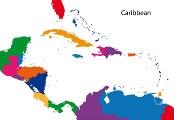 Colorful Caribbean map