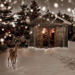 deer and Christmas scenery