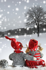 two dolls at winter day in Christmas time. Christmas story.