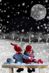 two dolls at night in Christmas time. Christmas story.