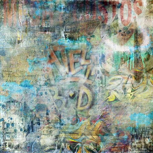 Zdjęcia na płótnie, fototapety na wymiar, obrazy na ścianę : Fond mur graffiti