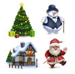 Christmas illustrations collection. Santa Claus, Snowman.