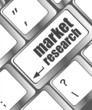 market research word button on keyboard