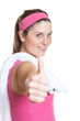 Sporty woman in pink jersey showing thumb
