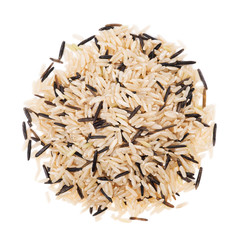 Brown and wild rice on a white background