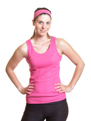 Sporty woman in pink jersey