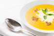 Pumpkin soup on served table