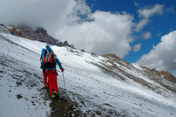 Hikers on their way to Aconcagua Mountain
