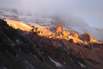 Majestic sunset on Aconcagua National Park