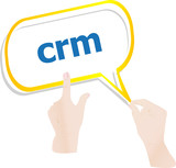 hands push crm word on speech bubbles
