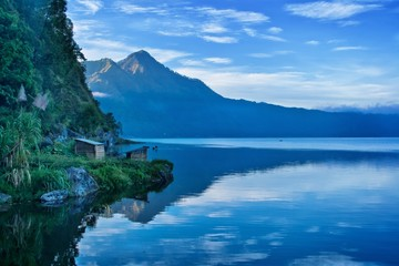 A view of a lake and mountain in Bali Indonesia