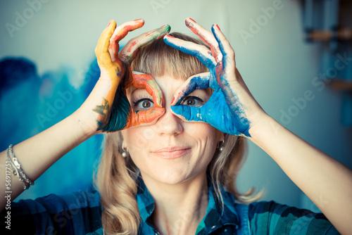 beautiful blonde woman painter - 56917751