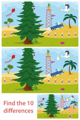 Kids puzzle of a desert tree difference