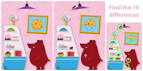 Childrens spot the difference puzzle of a bear