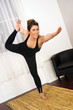 Young Attractive Woman Balances Standing Pose Yoga Practice