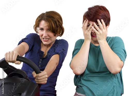 reckless driver and scared female passenger on white background