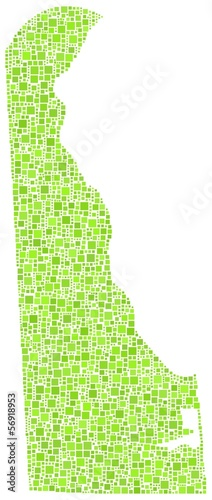 Decorative map of Delaware - USA - in a mosaic of green squares