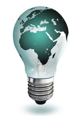 africa and europe continent light bulb