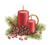 Watercolor christmas illustration. Candle and pine