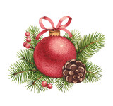 Watercolor Christmas illustration. Christmas ball and pine