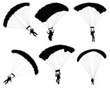 Black silhouette of a paraglider, vector