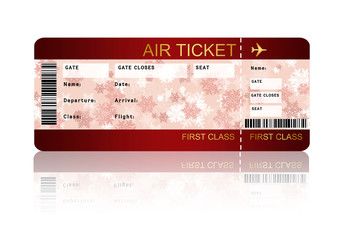 christmas airline boarding pass ticket isolated over white