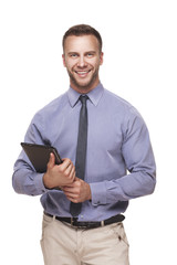 Business man with tablet in his hands