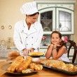 Mother cook with her daughter cooking homemade pastry