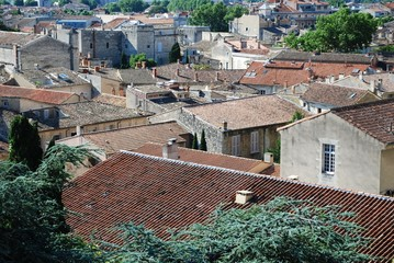 View on rooftops of old town of Avignon, Provence, France