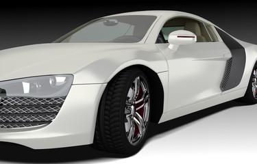 Sportwagen weiß Detailansicht