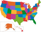 Fototapeta Colorful USA map
