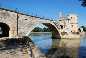 The Saint Benezet bridge on Rhone river in Avignon, France