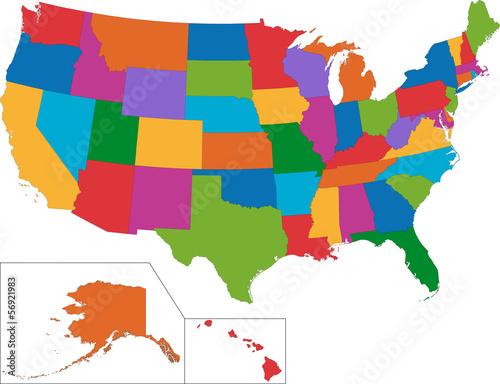 Kolorowa mapa USA