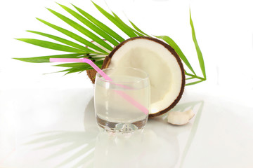 coconut water cut coconut in white background