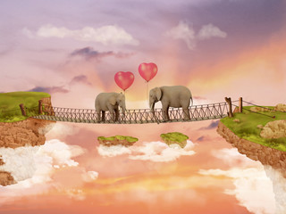 Two elephants on a bridge in the sky with balloons. Illustration